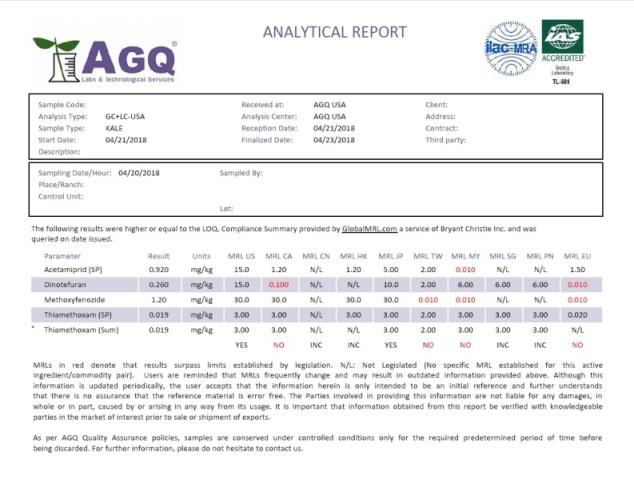 MRL report example